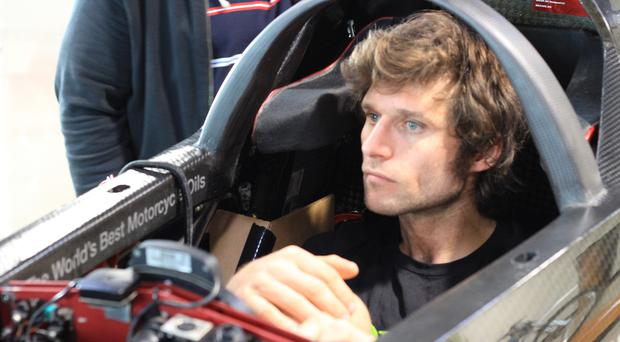 Speed star: Guy Martin is aiming to break 376.363mph in the US