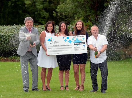 Members of the Davies family (from the left) Keith Reynolds, Sonia Davies, Stephanie Davies, Courtney Davies and Steve Powell, who scooped a £61.1 million EuroMillions jackpot, celebrate their win at the Celtic Manor Resort in Newport, south-east Wales. PRESS ASSOCIATION Photo. Picture date: Wednesday August 3, 2016. See PA story LOTTERY EuroMillions. Photo credit should read: Ben Birchall/PA Wire
