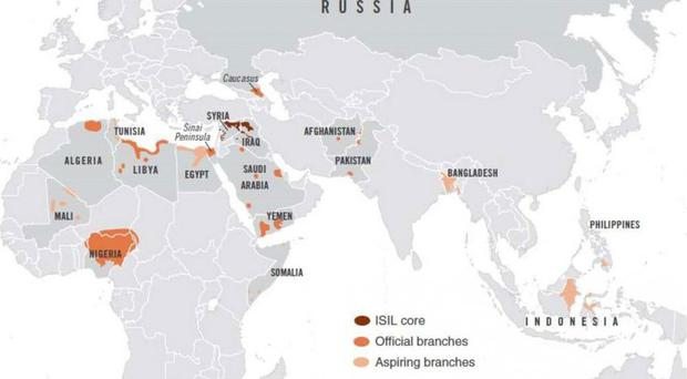 Counterterrorism heat map shows active Isis branches in 18 countries. Source: National Counterterrorism Center