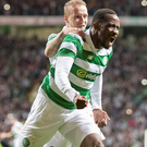 Moussa Dembele celebrates his goal with Leigh Griffiths