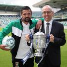 Trophysigning: Glentoran's Nacho Novo joins Danske Bank chief executive Kevin Kingston with the Gibson Cup