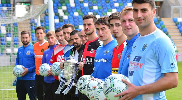 Ready to rock: Players from the clubs at last night's Irish League launch
