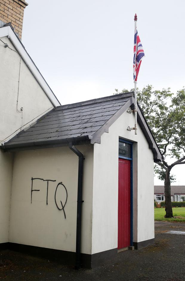 Sectarian graffiti was spray painted on Orange Hall on the Hillhall Road in Lisburn. Photographer Jonathan Porter Press Eye