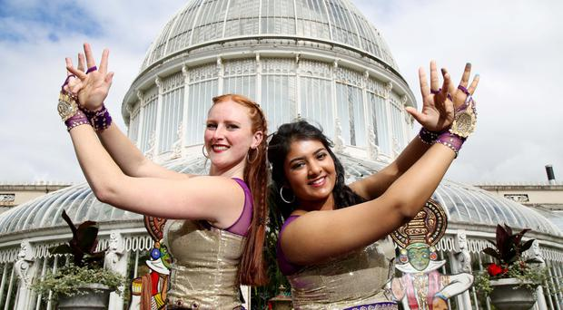Kathryn Shaw (left) and Dona Das Gupta members of Ireland's first South Asian Dance Academy. The dancers who perform all over Ireland will once again be performing their high energy and vibrant dance routines at this year's Mela. Photographer Darren Kidd / Press Eye