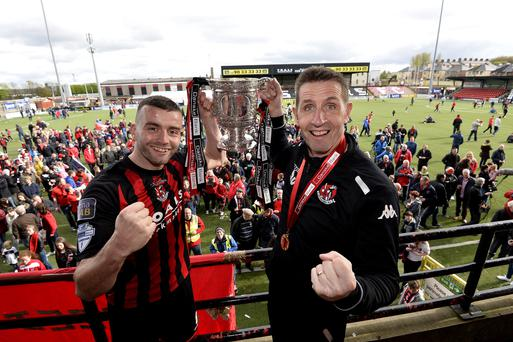 Bring it on: Crues boss Stephen Baxter and his skipper Colin Coates (left) are hoping to celebrate three consecutive title wins