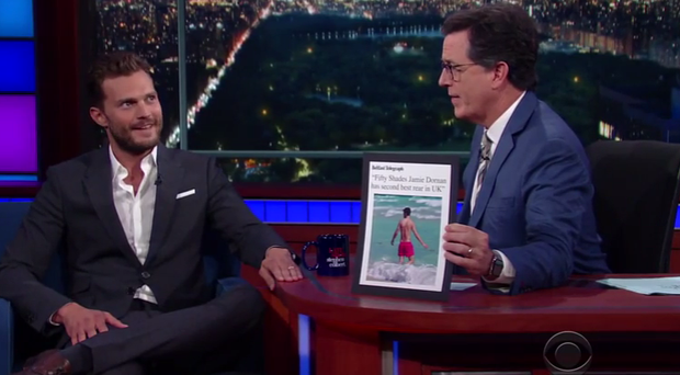 Jamie Dornan on The Late Show with Stephen Colbert.