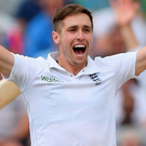 England bowler Chris Woakes appeals succesfully for the wicket of Pakistan batsman Mohammad Amir yesterday