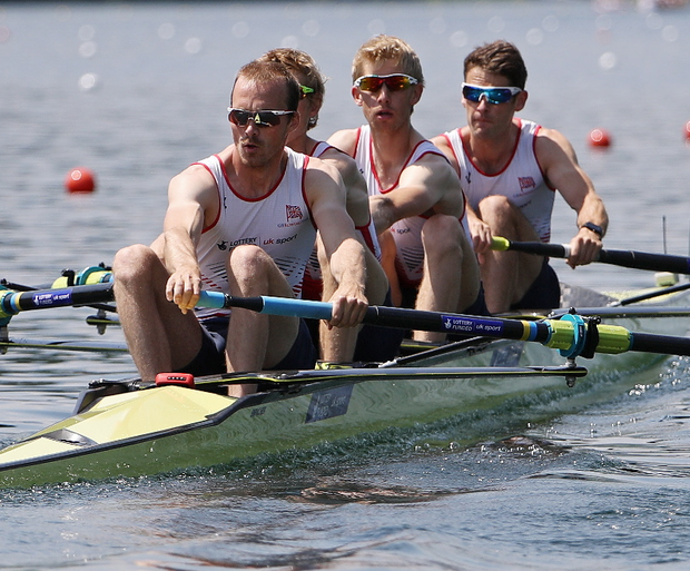Peter Chambers (right) competes in the Lightweight Men's Four