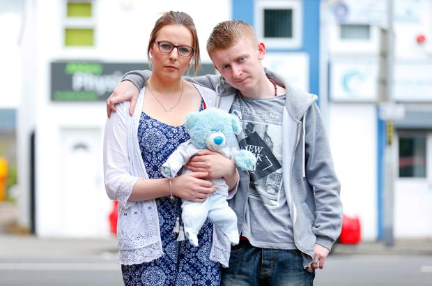 Sam Morrissey and Louise Lynn at home in Carrickfergus ahead of the inquest for baby Shea