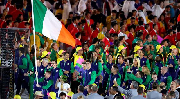 Ireland's flag bearer, Belfast's Paddy Barnes, leads his country during the Rio Olympic Games 2016 Opening Ceremony at the Maracana, Rio de Janeiro, Brazil. PA