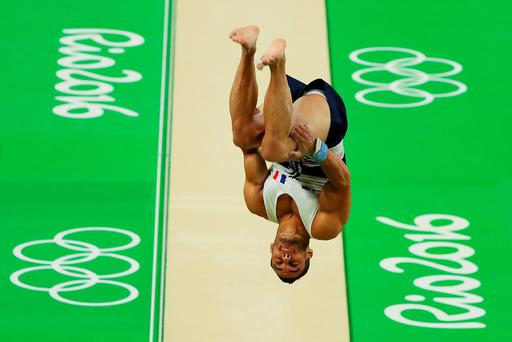 Samir Ait Said of France vaults on his way to breaking his leg while competing during the Artistic Gymnastics Men's Team qualification on Day 1 of the Rio 2016 Olympic Games at Rio Olympic Arena on August 6, 2016 in Rio de Janeiro, Brazil. (Photo by Scott Halleran/Getty Images)