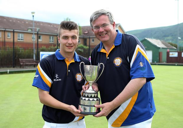 At the double: Stephen Kirkwood and Michael Nutt of Old Bleach walked away with the NIPGL Championships Pairs title