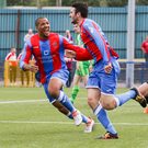 Debut joy: Joe McKinney celebrates his late equaliser for new club Ards