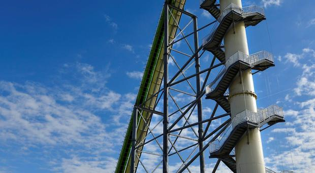 This Nov. 2013 file photo shows Schlitterbahn's new Verruckt speed slide/water coaster in Kansas City, Kan. A 12-year-old boy died Sunday, Aug. 7, 2016, on the Kansas water slide that is billed as the world's largest, according to officials. (Jill Toyoshiba/The Kansas City Star via AP, File)