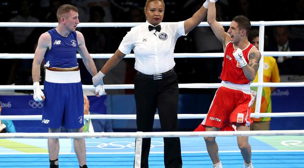 Samuel Carmona Heredia of Spain is declared the winner over Ireland's Paddy Barnes. Rio 2016 Olympic Games Day 3, Rio de Janeiro, Brazil 8/8/2016 ©INPHO/Dan Sheridan