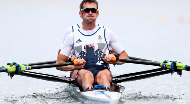 Will Fletcher and Richard Chambers of Team GB during the LWT Men's Double Skulls Repechage 4 on Day 3 of the Rio 2016 Olympic Games at the Lagoa Stadium on August 8, 2016 in Rio de Janeiro, Brazil. (Photo by Paul Gilham/Getty Images)