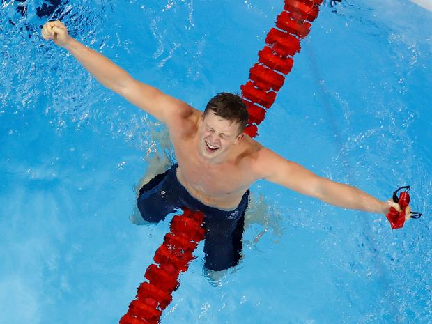 Team GB's Adam Peaty wins the 100m breaststroke gold medal during the swimming competitions at the 2016 Summer Olympics, Saturday, Aug. 6, 2016, in Rio de Janeiro, Brazil. (AP Photo/Morry Gash)