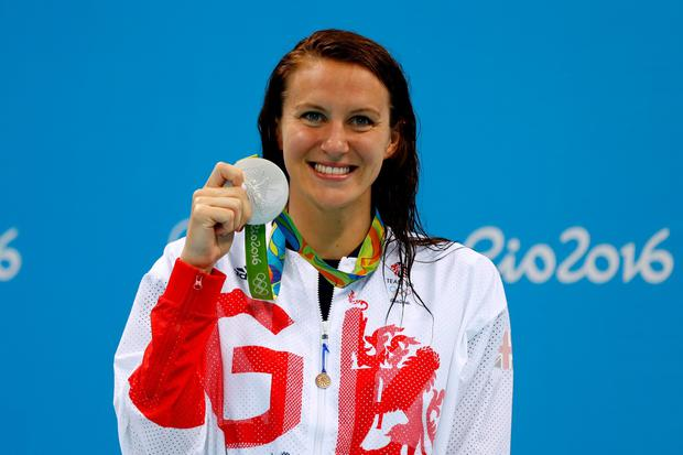 Silver medalist Jazz Carlin of Team GB poses on the podium during the medal ceremony for the Women's 400m Freestyle Final on Day 2 of the Rio 2016 Olympic Games at the Olympic Aquatics Stadium on August 7, 2016 in Rio de Janeiro, Brazil. (Photo by Clive Rose/Getty Images)