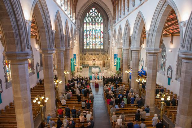 Pacemaker Press belfast 08-08-2016: The remains of the late Bishop Edward Daly which were brought to St. Eugene's Cathedral in Londonderry on Monday evening, where they will remain until Requiem Mass on Thursday afternoon and burial in the grounds of the Cathedral. Picture By: Pacemaker.