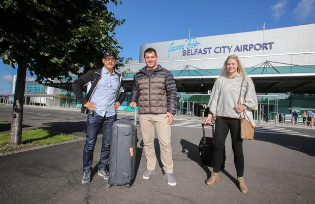 Belfast boy: New Ulster signing Marcell Coetzee arrives at George Best Belfast City Airport with his wife Chanelle where they were met by Ulster Director of Rugby Les Kiss