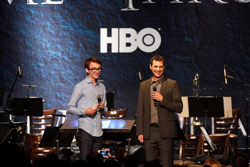 Actor Isaac Hempstead Wright and composer Ramin Djawadi speak onstage during the announcement of the Game of Thrones Live Concert Experience featuring composer Ramin Djawadi at the Hollywood Palladium on August 8, 2016 in Los Angeles, California. (Photo by Kevin Winter/Getty Images for Live nation Entertainment )