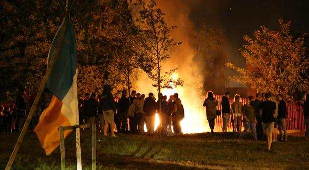 The New Lodge anti-internment bonfire as it burns on August 9 2016 ( Photo by Kevin Scott / Presseye )