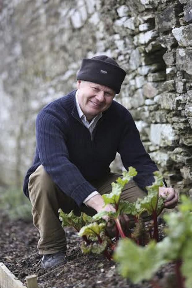 Bob Peaker hard at work in the Walled Garden