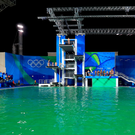 The green water at the Maria Lenk Aquatics Centre on the fourth day of the Rio Olympics