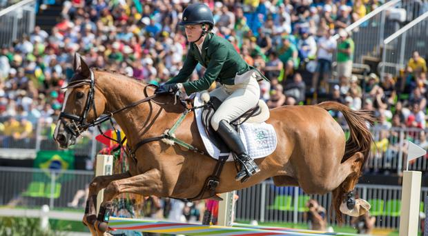 Impressive finish: Clare Abbott was first into the arena yesterday and produced Ireland's first clear round of the competition
