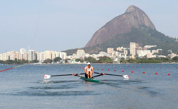 Coleraine's Alan Campbell competes in the Mens Single Sculls Quarterfinals for Great Britain at the Lagoa Stadium in Rio