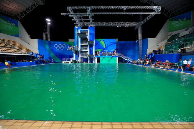 A general view of the green water at the Maria Lenk Aquatics Centre on the fourth day of the Rio Olympic Games, Brazil. PA