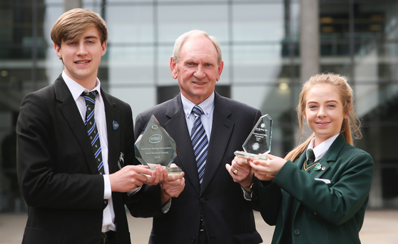 Sentinus chair Jim Stewart CBE with Sentinus 'young innovators' winners Gareth Reid from Grosvenor Grammar School, Belfast, and Clara Deehan from St Joseph's, Donaghmore