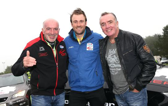 Ulster Grand Prix Clerk of the Course, Noel Johnston is joined by Liverpool FC's chief executive, Ian Ayre and MCE Insurance's James Davey before Thursday's action at Dundrod. PICTURE BY STEPHEN DAVISON Pacemaker