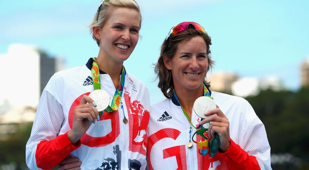 Victoria Thornley (L) and Katherine Grainger of Great Britain pose with their silver medals after finishing second in the Women's Double Sculls Final A on Day 6 of the 2016 Rio Olympics at Lagoa Stadium on August 11, 2016 in Rio de Janeiro, Brazil. (Photo by Alexander Hassenstein/Getty Images)