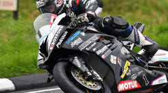 Out in front: Michael Dunlop on his way to pole position success at Dundrod