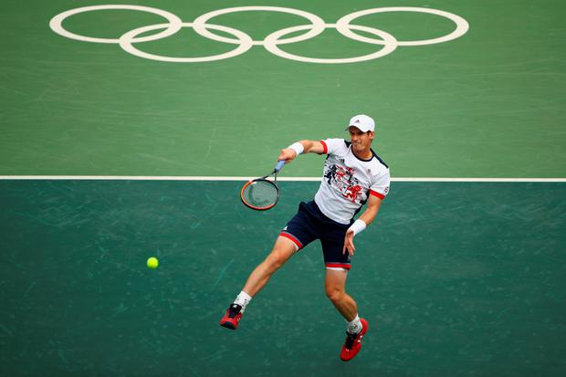 Andy Murray of Great Britain in action during the men's singles third round match against Fabio Fognini of Italy on Day 6 of the 2016 Rio Olympics at the Olympic Tennis Centre on August 11, 2016 in Rio de Janeiro, Brazil. (Photo by Clive Brunskill/Getty Images)