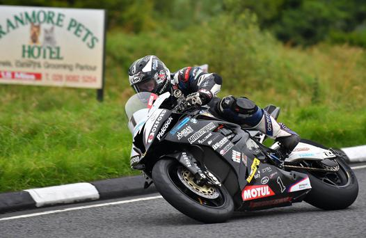 Michael Dunlop at the Ulster Grand Prix Superbike practice in Dundrod. Photo: Rowland White PressEye