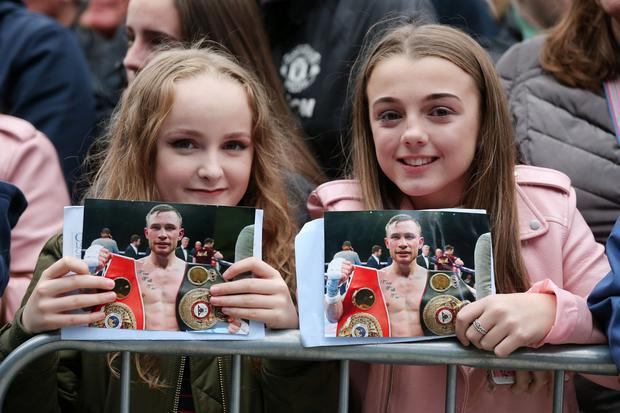Homecoming celebration for boxer Carl 'The Jackal' Frampton at Belfast City Hall. Photo by Kelvin Boyes / Press Eye