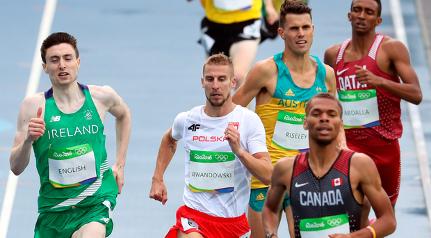 Ireland's Mark English (left) during the men's 800m heats at the Olympic Stadium
