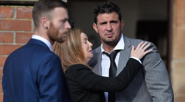 Andre Shoukri during the funeral of Loyalist John Boreland who was shot dead in north Belfast. Pic Pacemaker