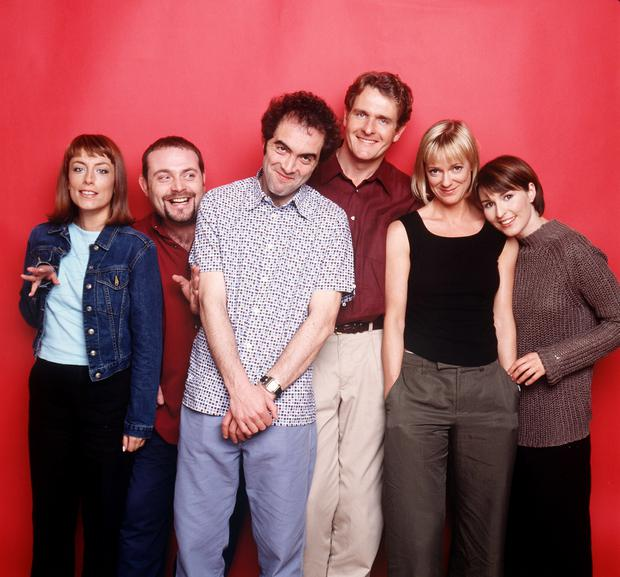 Cold Feet cast Fay Ripley, John Thomson, James Nesbitt, Robert Bathurst, Hermonie Norris and Helen Baxendale