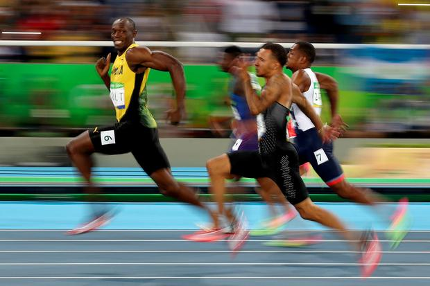 Usain Bolt of Jamaica competes in the Men's 100 meter semifinal on Day 9 of the Rio 2016 Olympic Games at the Olympic Stadium on August 14, 2016 in Rio de Janeiro, Brazil. (Photo by Cameron Spencer/Getty Images)