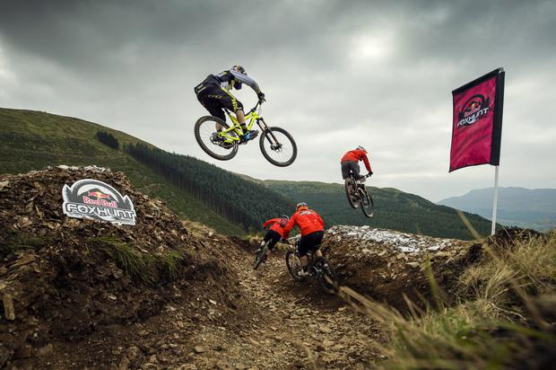 Pictured is, Gee Atherton (two-time Downhill World Champion) during a practice session in Rostrevor, Co. Down as part of Red Bull Foxhunt, one of the biggest mass start downhill events in Europe Red Bull Foxhunt takes place tomorrow (4th October) when, over 400 riders (the hounds) will hit the Mourne Mountains and try to outfox Gee Atherton (the fox)