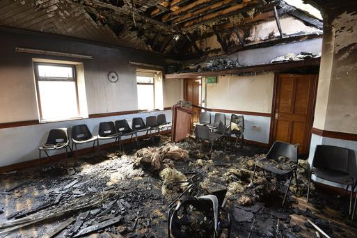 Salterstown Orange hall which was extensively damaged in an overnight arson attack. Gordon Bryson deputy master of LOL 482 Salterstown Photograph by Stephen Hamilton Press Eye. 15th August 2016.