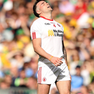 Beaten: Cathal McCarran is dejected after Tyrone's All-Ireland exit