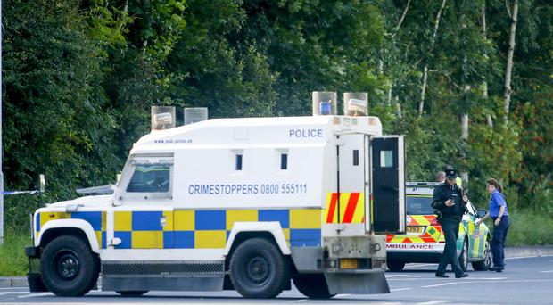 The scene of a crash on the Pembroke Loop Road in the Poleglass area of west Belfast on August 15 2016 in which a teenage boy has been struck by a lorry ( Photo by Kevin Scott / Presseye )