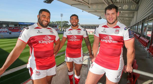 New boys: Charles Piutau (centre) along with signings Rodney Ah You and Marcell Coetzee in Ulster's new Champions Cup kit