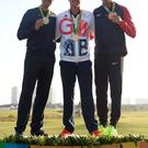Golfing class: Justin Rose (centre) with silver medallist Henrik Stenson (left) and bronze medallist Matt Kuchar