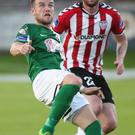 Focus: Steven Beattie is closed down by Patrick McClean
