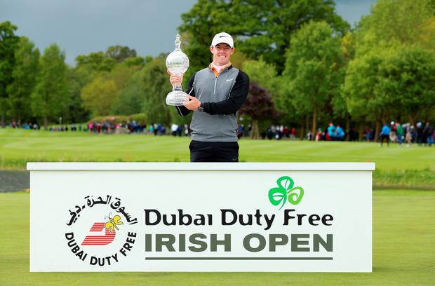 Rory McIlroy of Northern Ireland poses with the trophy after winning the Dubai Duty Free Irish Open Hosted by the Rory Foundation at The K Club on May 22, 2016 in Straffan, Ireland. (Photo by Andrew Redington/Getty Images)
